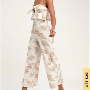 Twist Flirt White Palm Print Tie-Front Jumpsuit